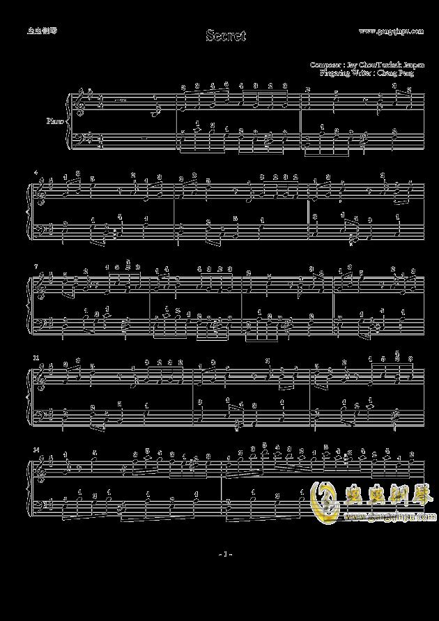 secret钢琴谱-周杰伦-虫虫钢琴谱免费下载