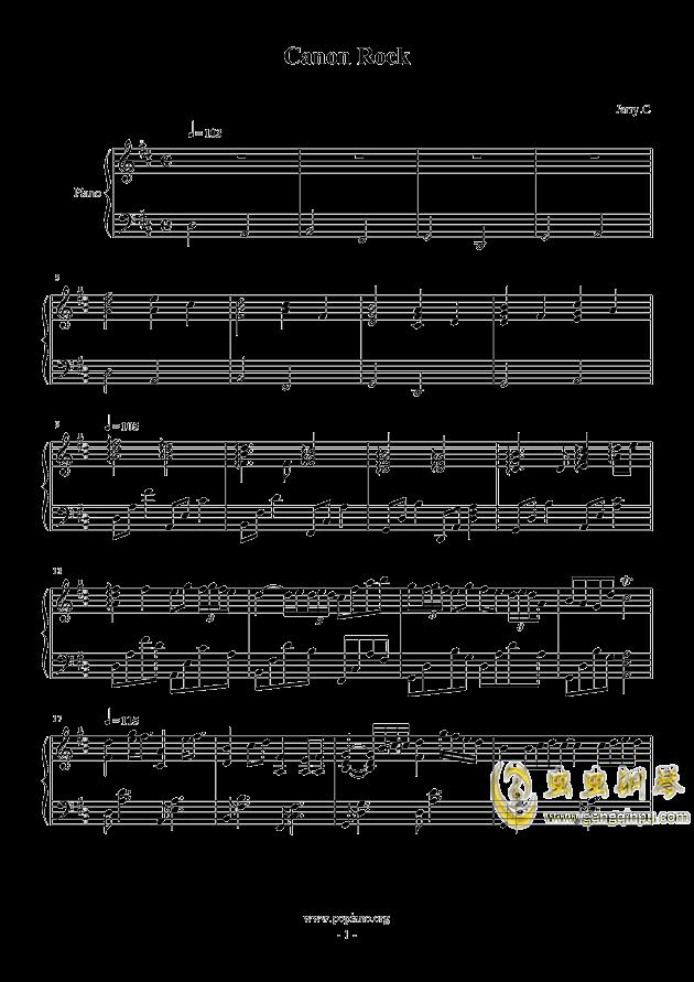 c canon rock钢琴谱-.图片