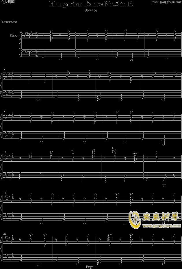 匈牙利舞曲第五号b调四手联弹低音部钢琴谱-勃拉姆斯