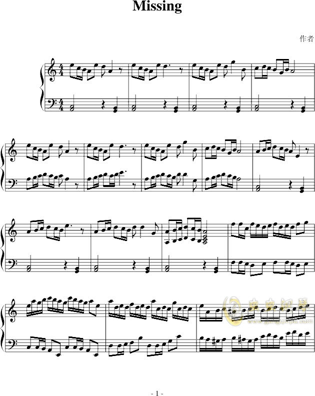missing钢琴谱-fangdong-虫虫钢琴谱免费下载