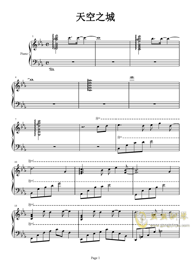 天空之城钢琴谱-久石让-虫虫钢琴谱免费下载图片