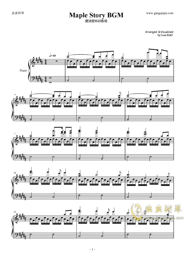 【冒险岛】魔法密林训练场bgm钢琴谱-冒险岛-虫虫