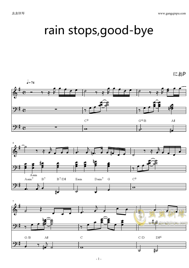 good-bye钢琴谱-初音未来-虫虫钢琴谱