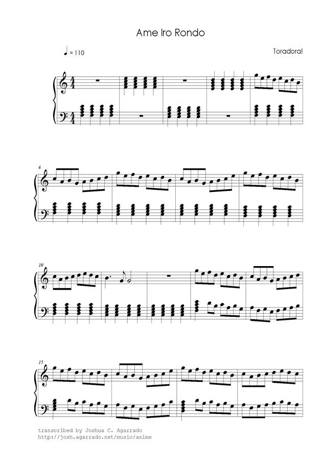 Piano anime piano sheet music : piano sheet music -雨色ロンド- www.gangqinpu.com