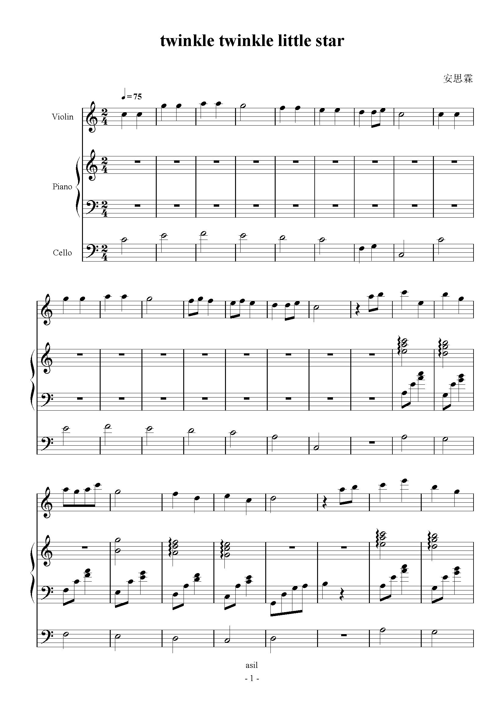 小星星(小提琴三声部版)钢琴谱-莫扎特-虫虫钢琴谱图片
