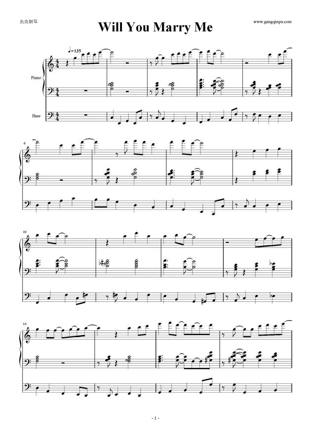 piano sheet music -Will You Marry Me【三行】 - www.gangqinpu.com