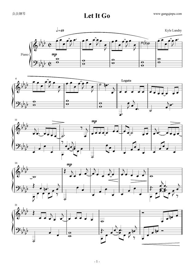 Piano Sheet Music Let It Go Kyle Landry 完美感情100 Www