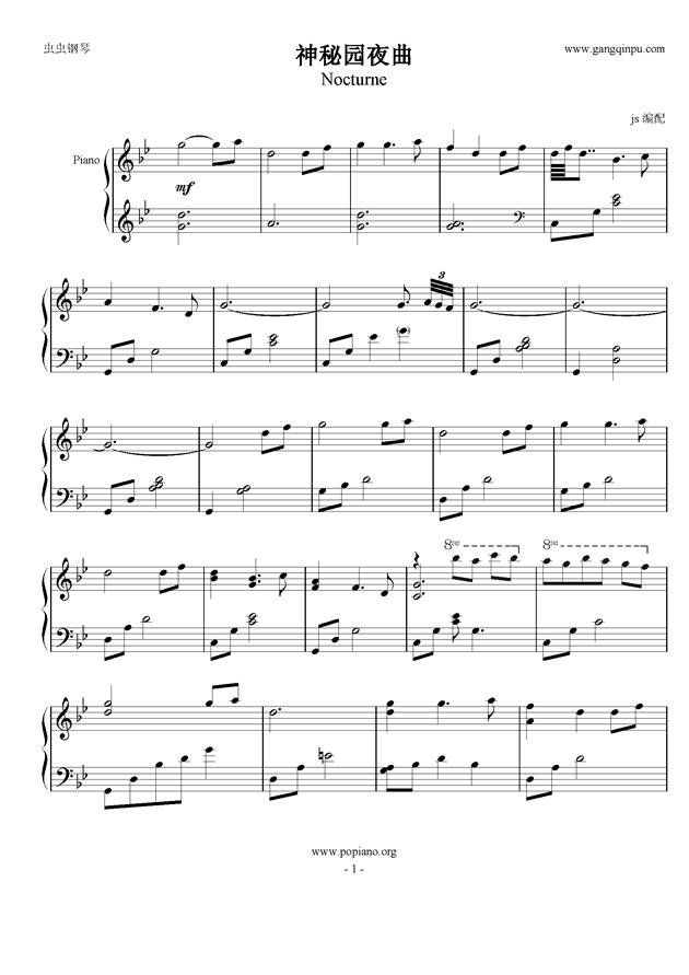 夜曲钢琴谱-神秘园-虫虫钢琴谱免费下载