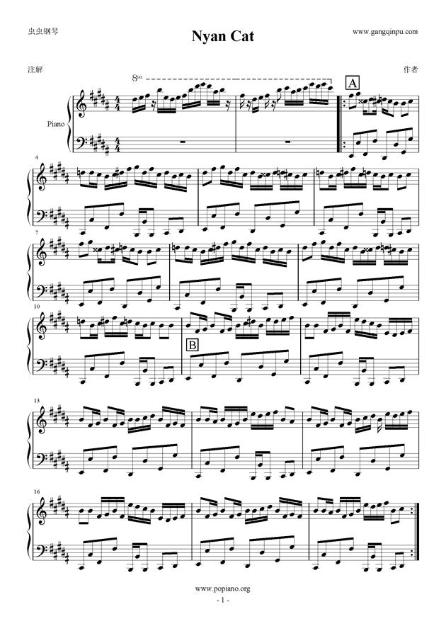 piano sheet music -Nyan Cat 彩虹猫- www.gangqinpu.com