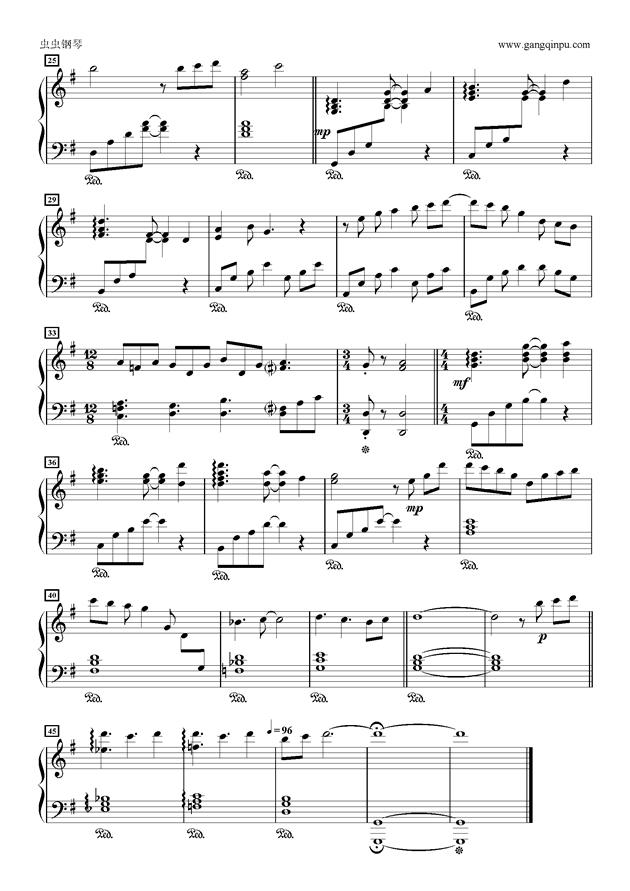 平和钢琴谱-学园孤岛-虫虫