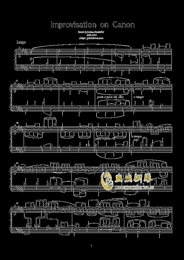 improvisation on pachelbel-canon 钢琴谱 第1页图片