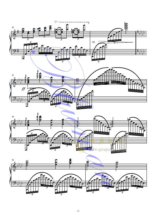 在水一方钢琴谱 第4页图片