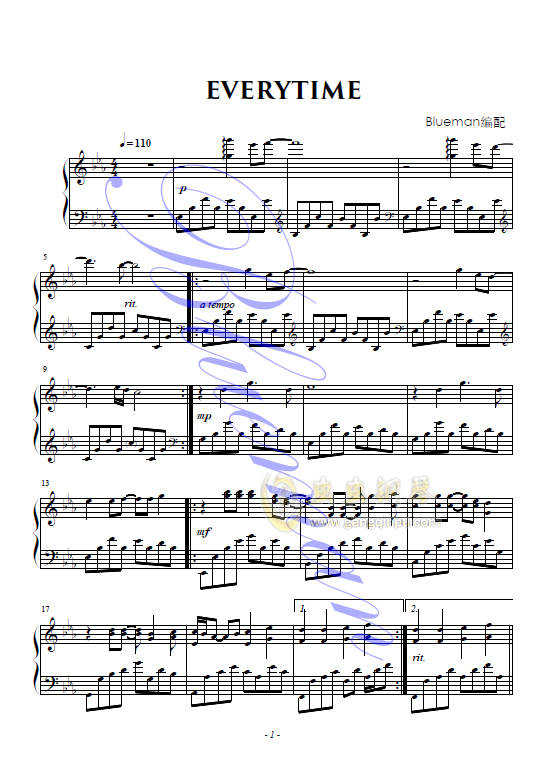 Piano sheet music everytime for Piano dance music 90 s