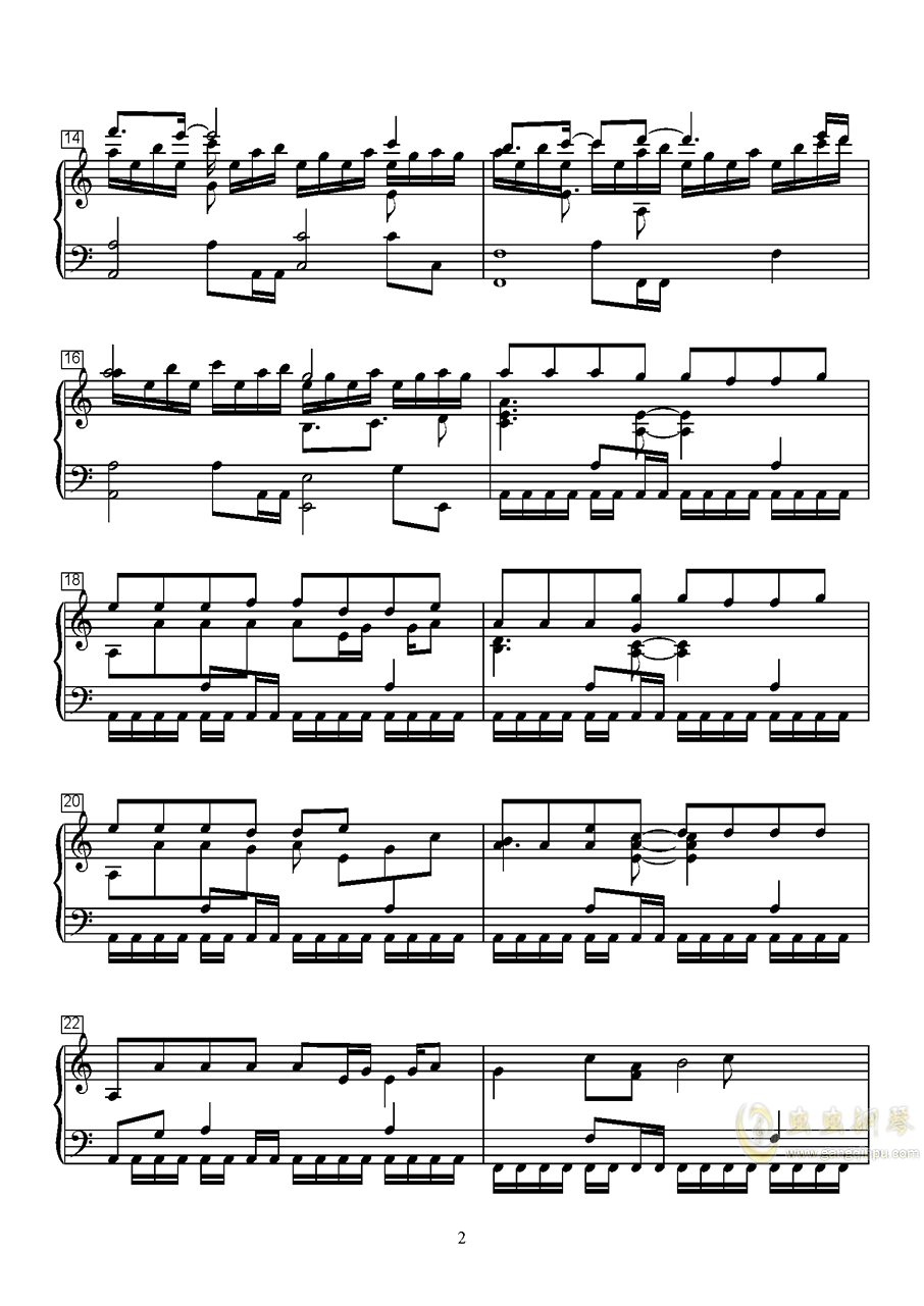 离舟钢琴曲谱_钢琴简单曲谱